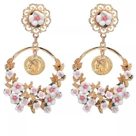 2b24e9ee Gorgeous white/Pink Roses Fashion Earrings Boutique